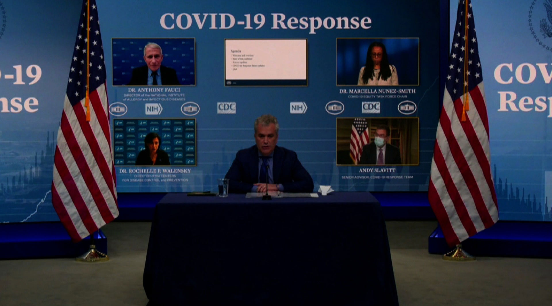 The White House Covid-19 Response Team during a briefing on January 27.