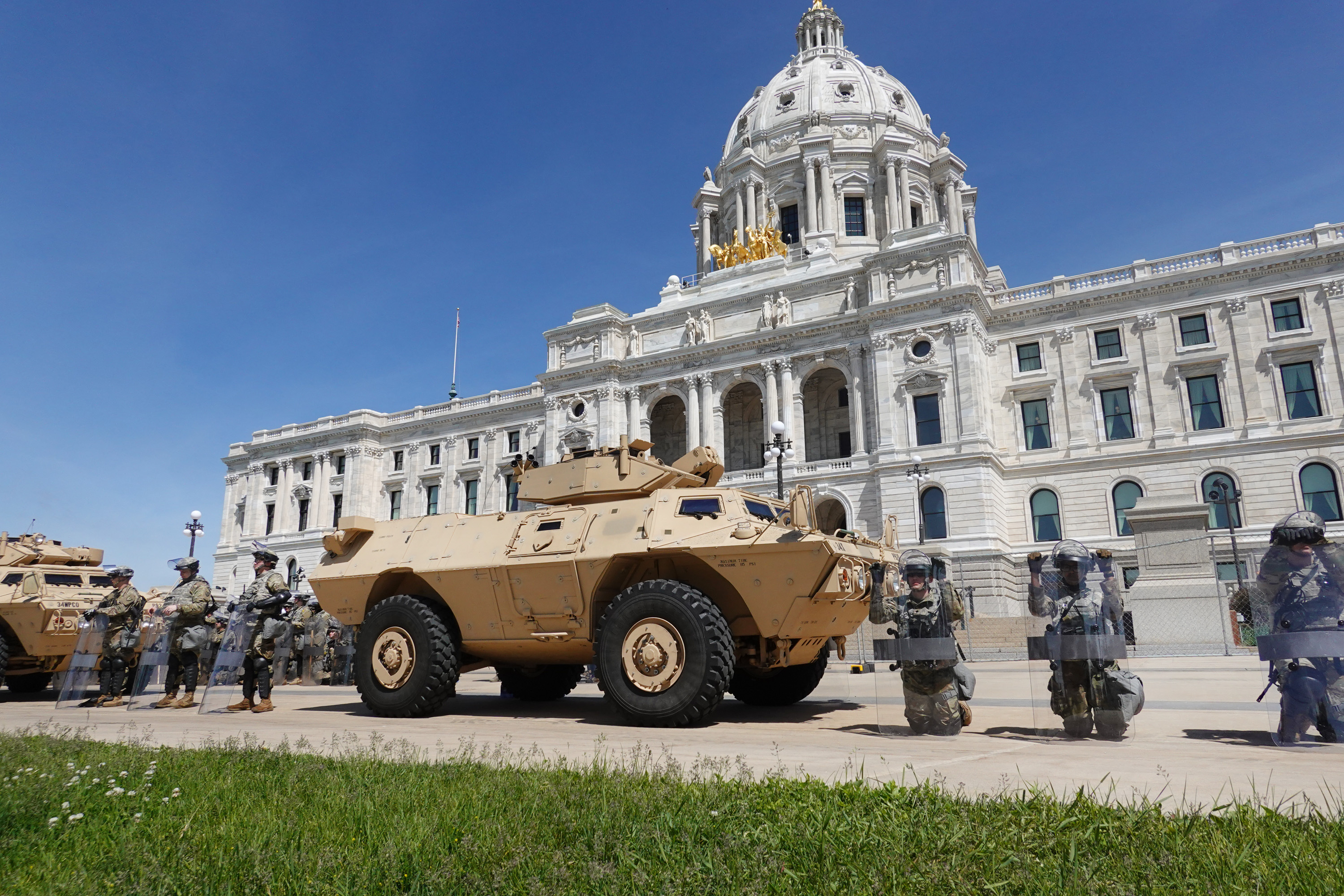 Members of the Minnesota National Guard surround the State Capitol in St. Paul, Minnesota, on May 31.