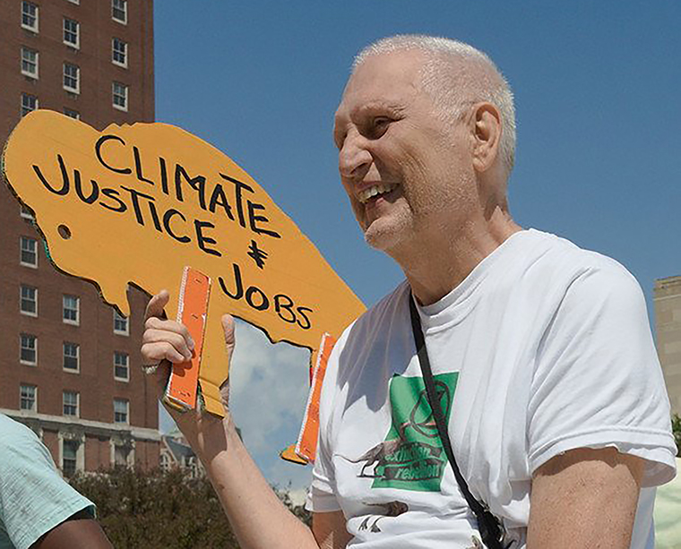 Gugino is seen in June 2019, at the Buffalo Youth Climate Strike.