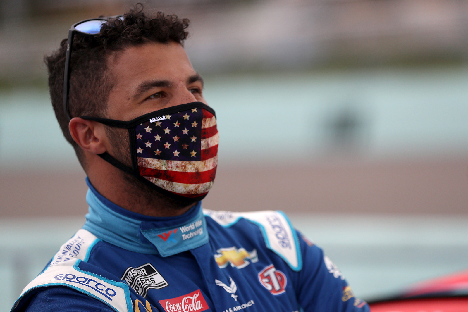 Bubba Wallace, driver of the #43 World Wide Technology Chevrolet, stands on the grid prior to the NASCAR Cup Series Dixie Vodka 400 at Homestead-Miami Speedway on June 14, in Homestead, Florida.