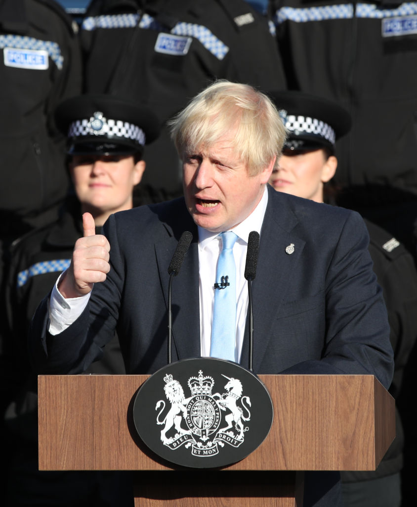 Boris Johnson gives a speech to police officers during a visit in West Yorkshire on Thursday.