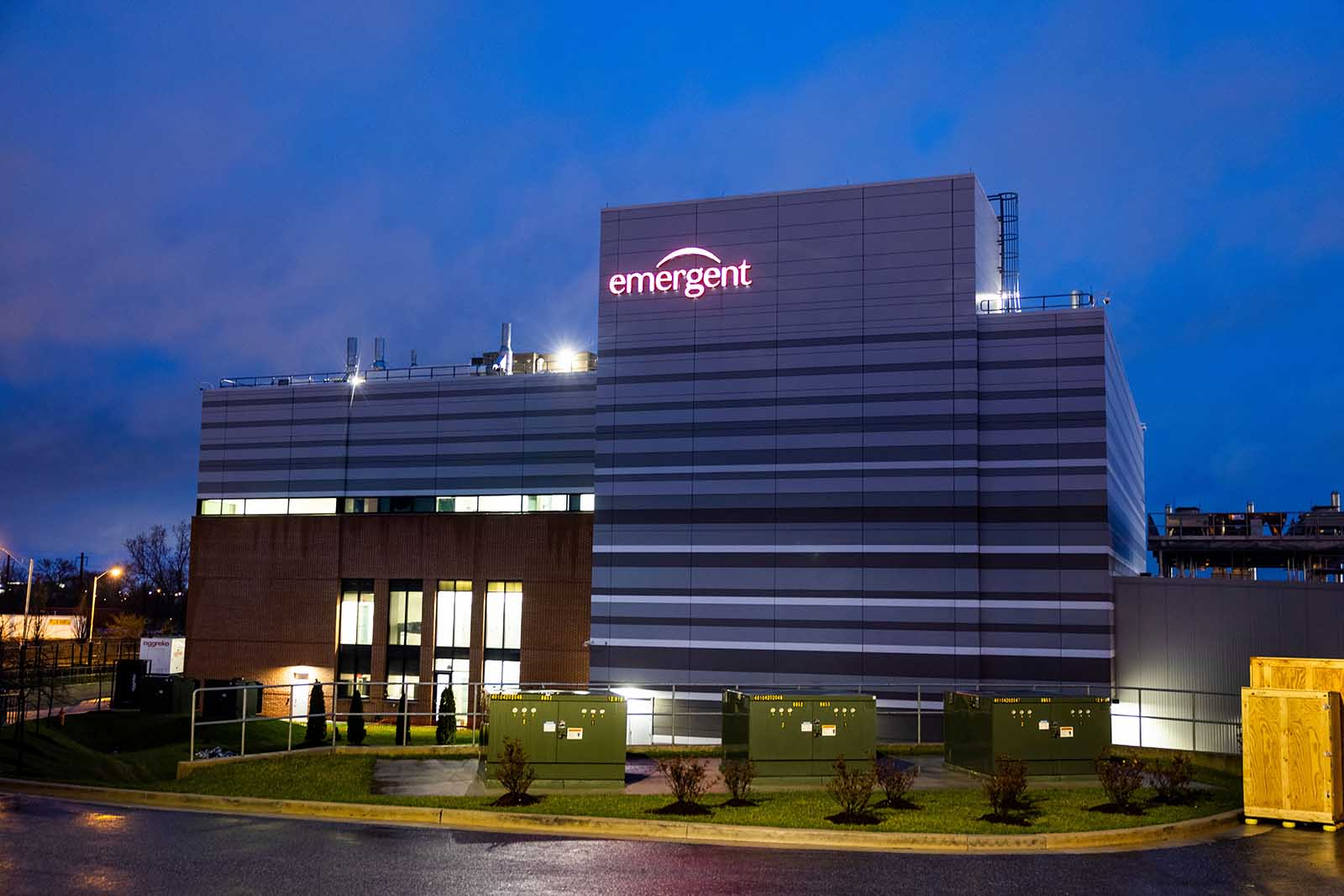 The biopharmaceutical company Emergent BioSolutions is pictured in Baltimore, Maryland, on April 1.