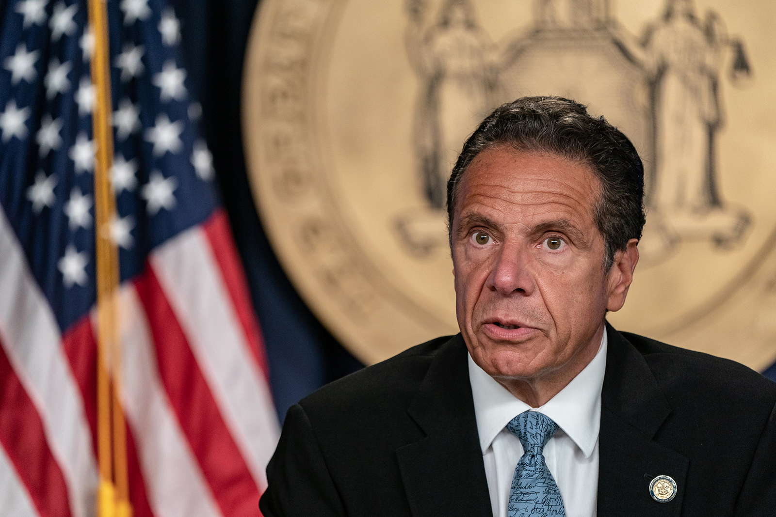 New York Gov. Andrew Cuomo speaks during the daily media briefing at the Office of the Governor of the State of New York on July 23, in New York City.