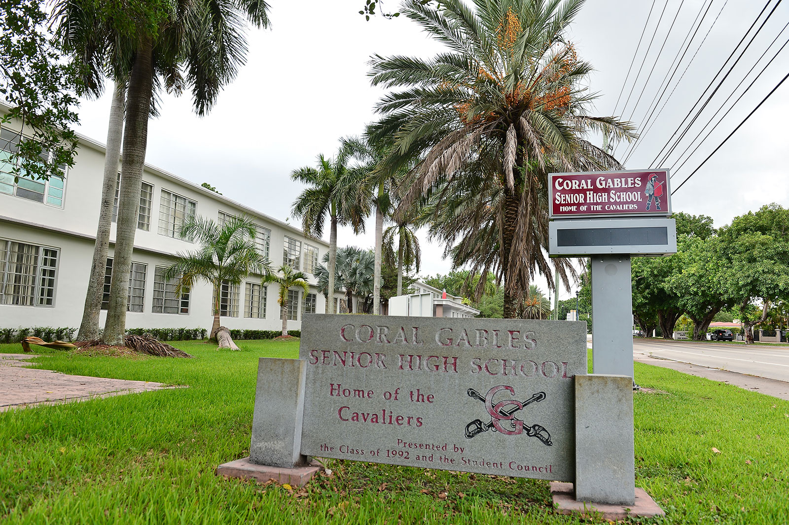 An exterior view of Coral Gables Senior High School in Coral Gables, Florida. Miami-Dade County Public Schools Superintendent Alberto said students will continue virtual learning until at least October.