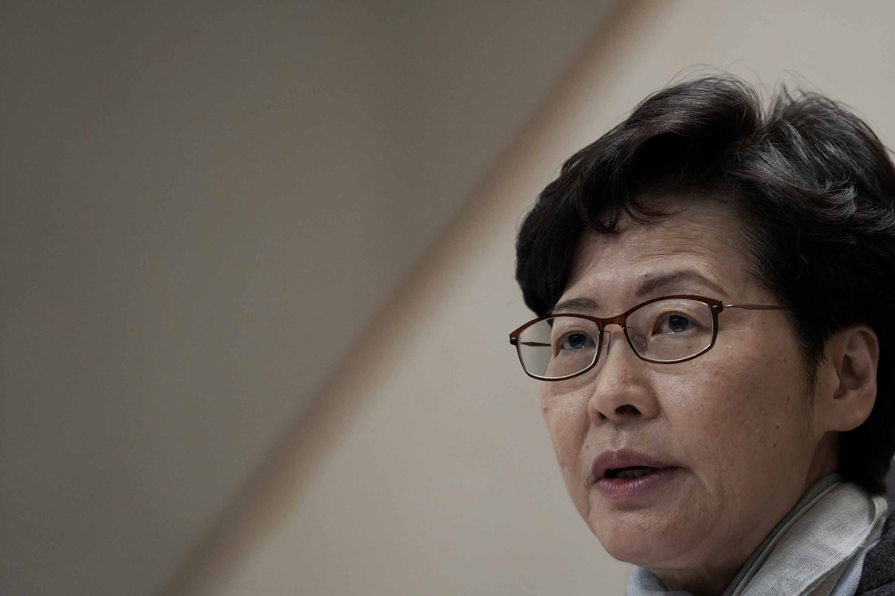 Hong Kong Chief Executive Carrie Lam speaks during a press conference in Hong Kong on February 11.