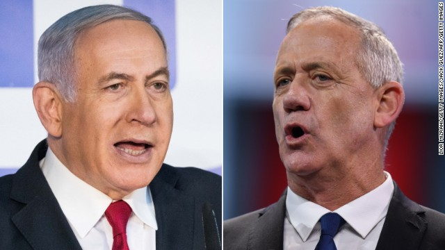 Leader of the Blue and White party Benny Gantz (right) and leader of the Likud party Benjamin Netanyahu (left).