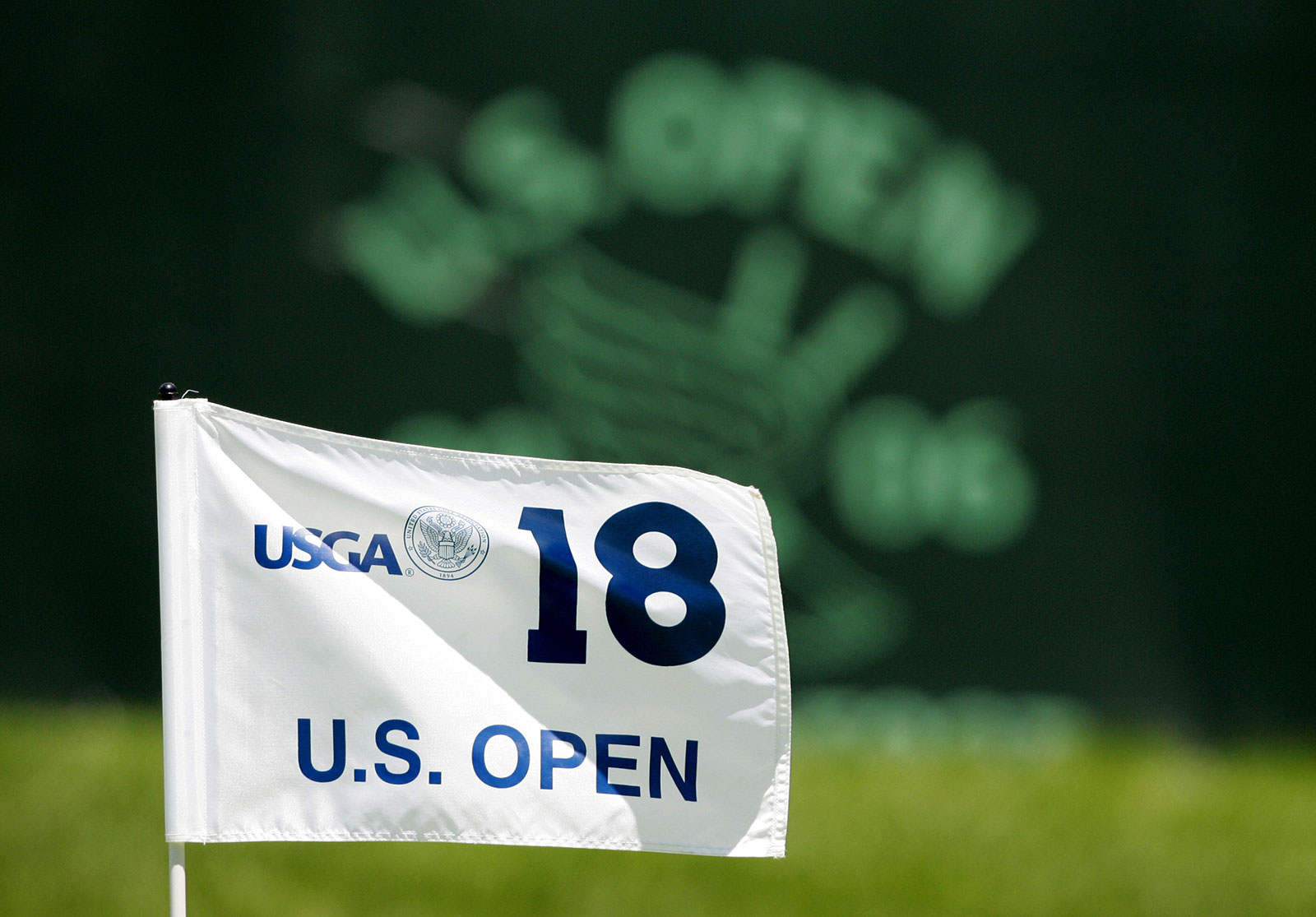 A pin flag is seen on the 18th hole during the 2006 US Open at Winged Foot Golf Club in Mamaroneck, New York. The club is scheduled to host the championship in September without fans.