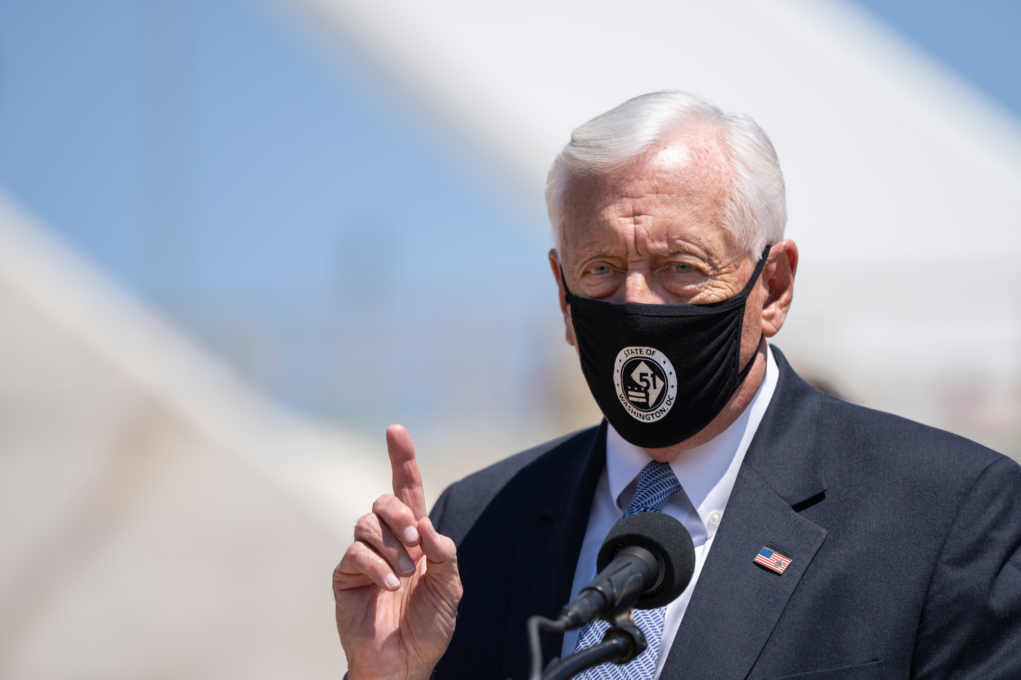 Rep. Steny Hoyer speaks during a news conference near the new Frederick Douglass Memorial Bridge on May 19 in Washington, DC.