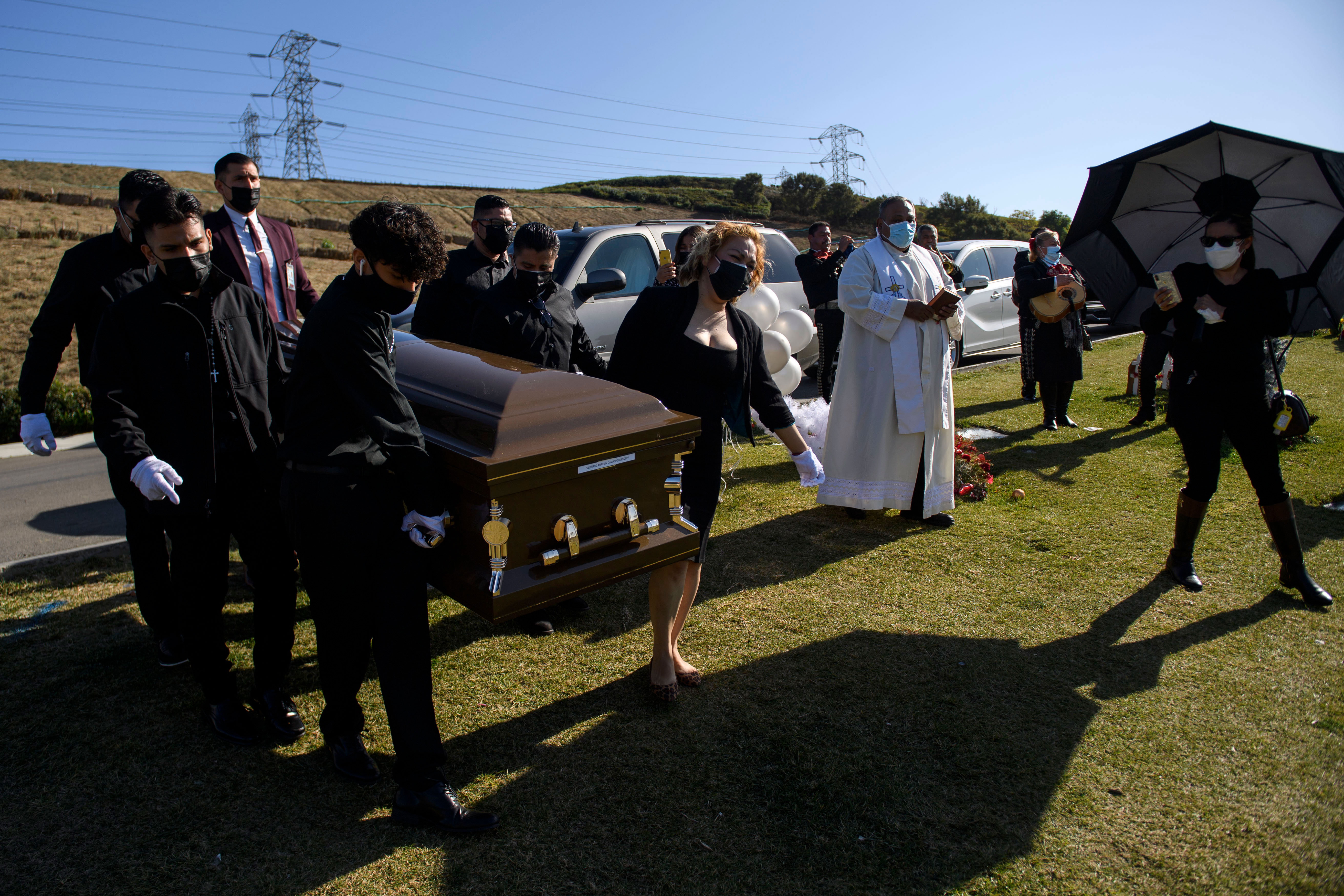Pallbearers carry the casket of someone said to have died from Covid-19 during a burial service in Whittier, California, on December 31.