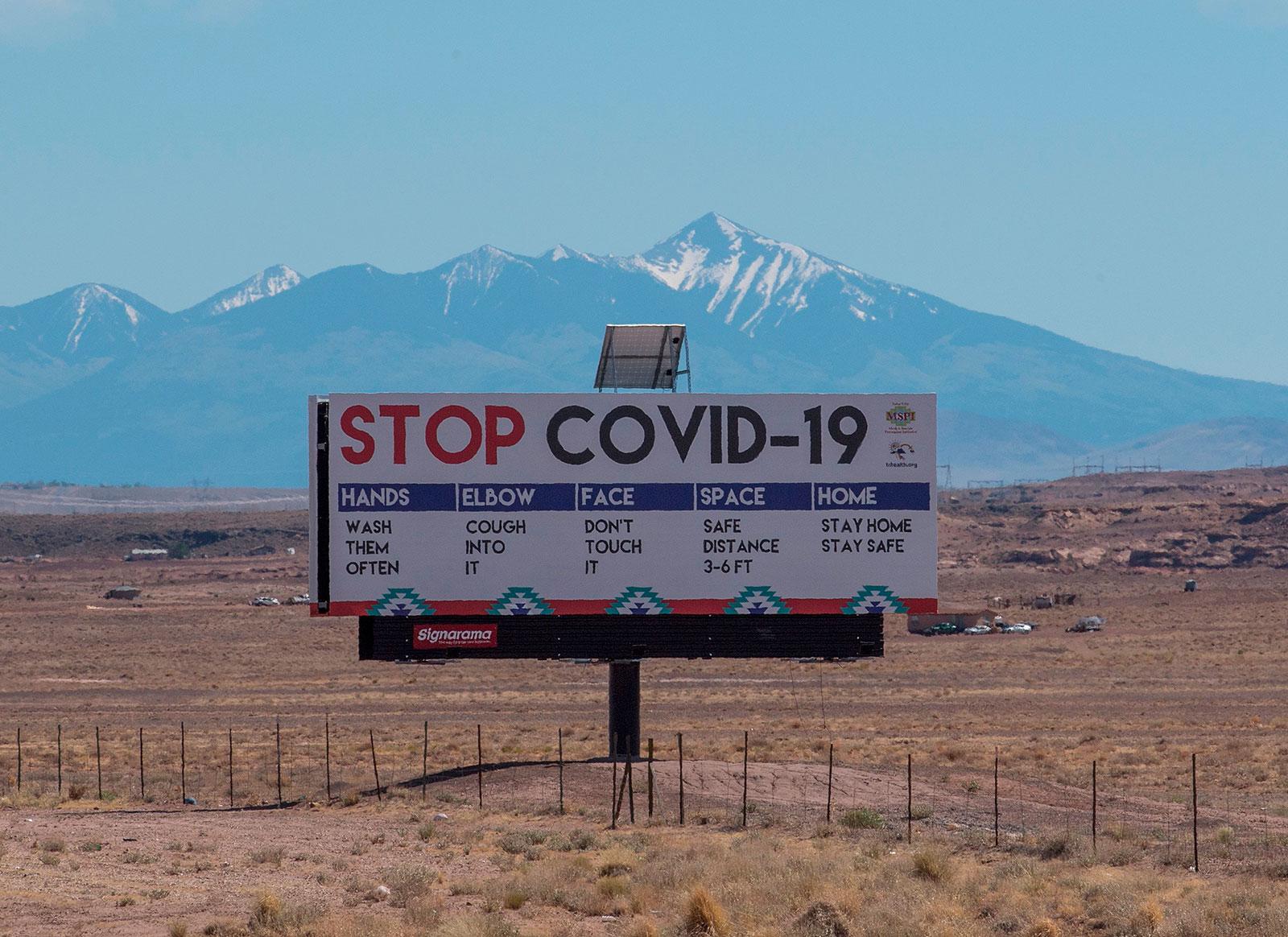 A sign near the Navajo Nation town of Tuba City, Arizona, in May.