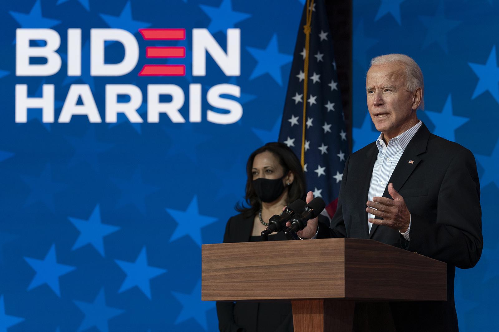 Democratic presidential candidate Joe Biden joined by Democratic vice presidential candidate Sen. Kamala Harris, D-Calif., speaks at the The Queen theater Thursday, Nov. 5, in Wilmington, Delaware.