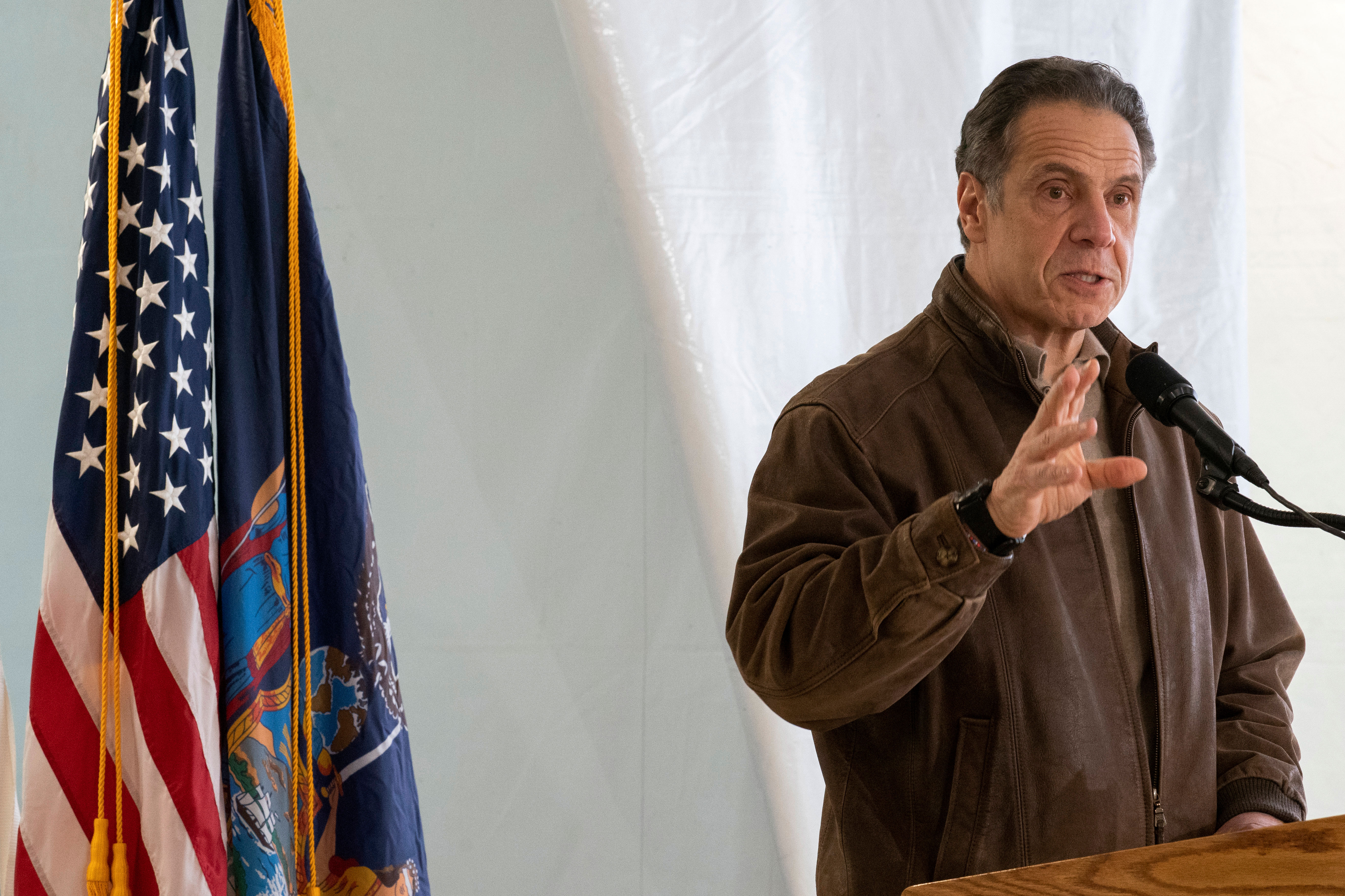 Gov. Andrew Cuomo speaks during a news conference at a Covid-19 pop-up vaccination site at William Reid Apartments in Brooklyn, New York, on January 23.