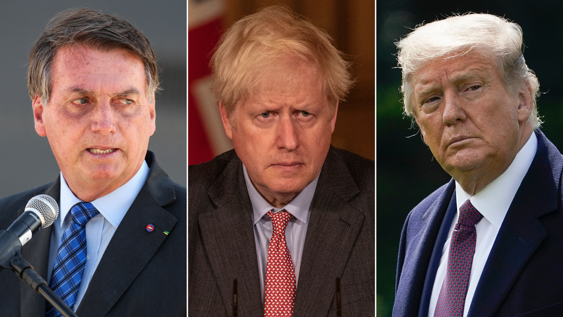 From left to right: Brazilian President Jair Bolsonaro, UK Prime Minister Boris Johnson and US President Donald Trump