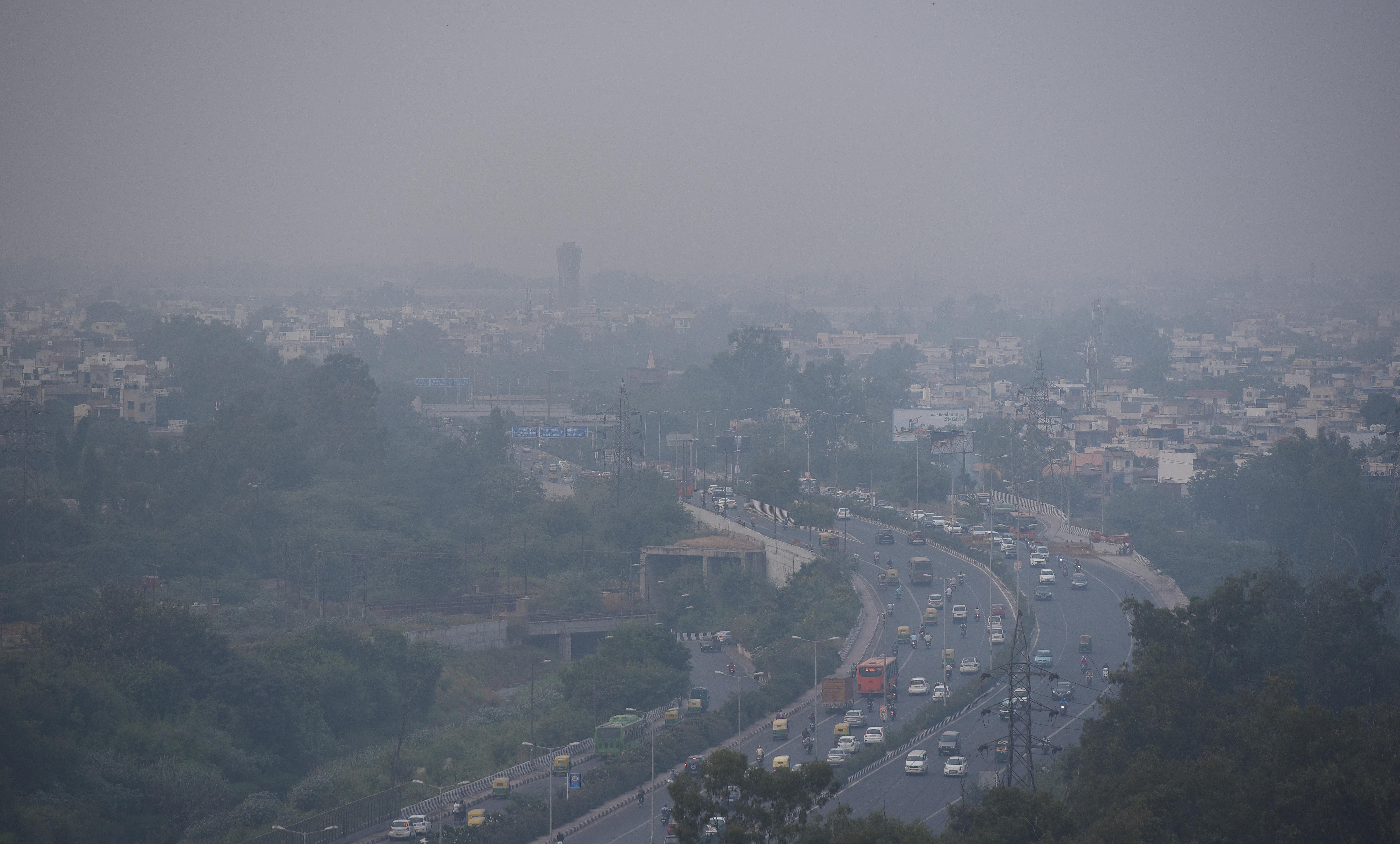 Smog at Anand Vihar on October 14, in New Delhi, India.