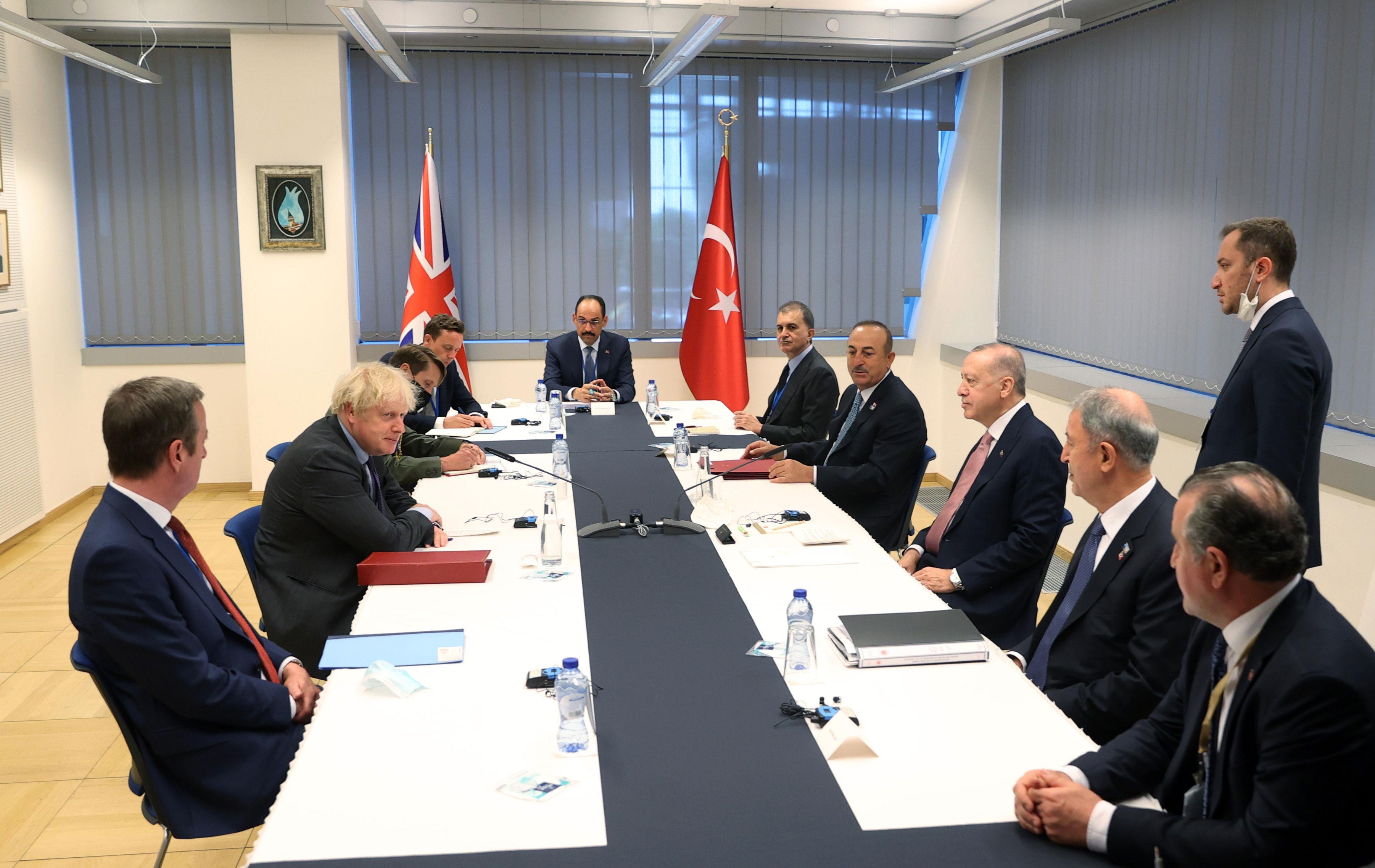 British Prime Minister Boris Johnson meets with Turkish President Recep Tayyip Erdogan in Brussels, Belgium, on June 14.