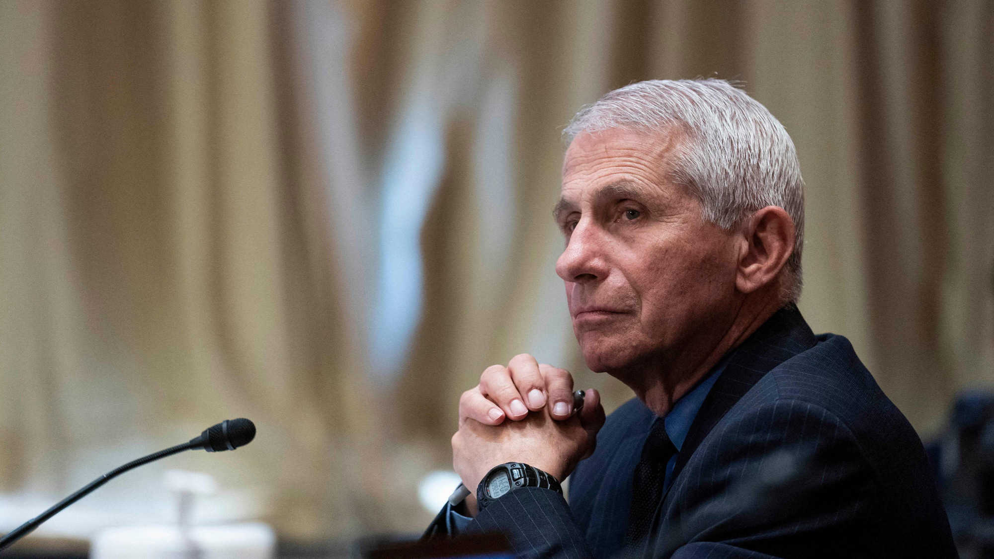 Dr. Anthony Fauci, director of the National Institute of Allergy and Infectious Diseases, listens during a hearing on Capitol Hill in Washington, DC, on May 26.