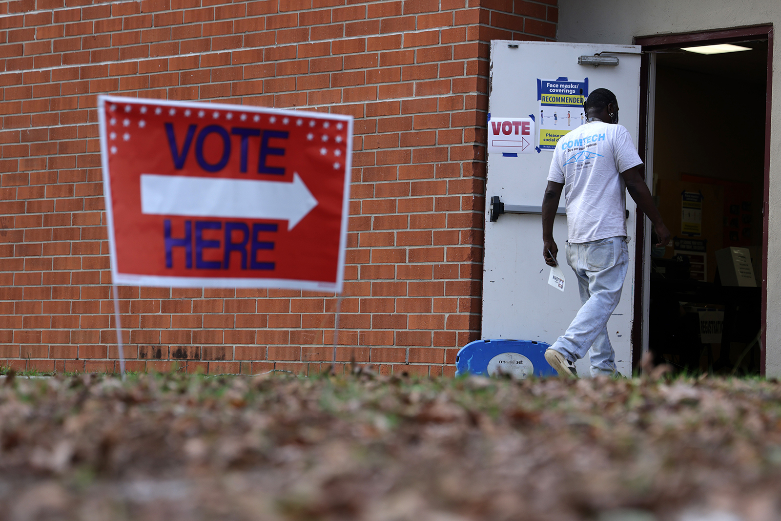A man walks into an early voting location at Massey Hill Recreation Center & Park on October 29, 2020 in Fayetteville, North Carolina.