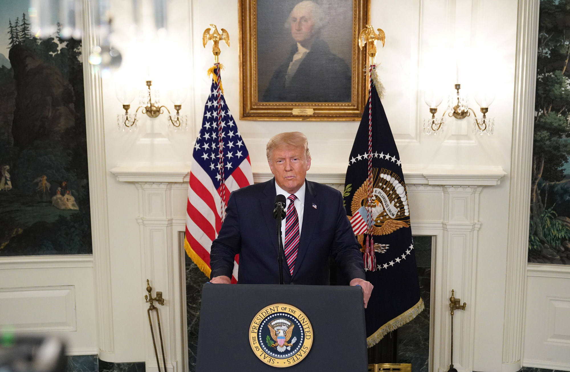 US President Donald Trump speaks in the Diplomatic Reception Room of the White House in Washington, DC, on September 9.