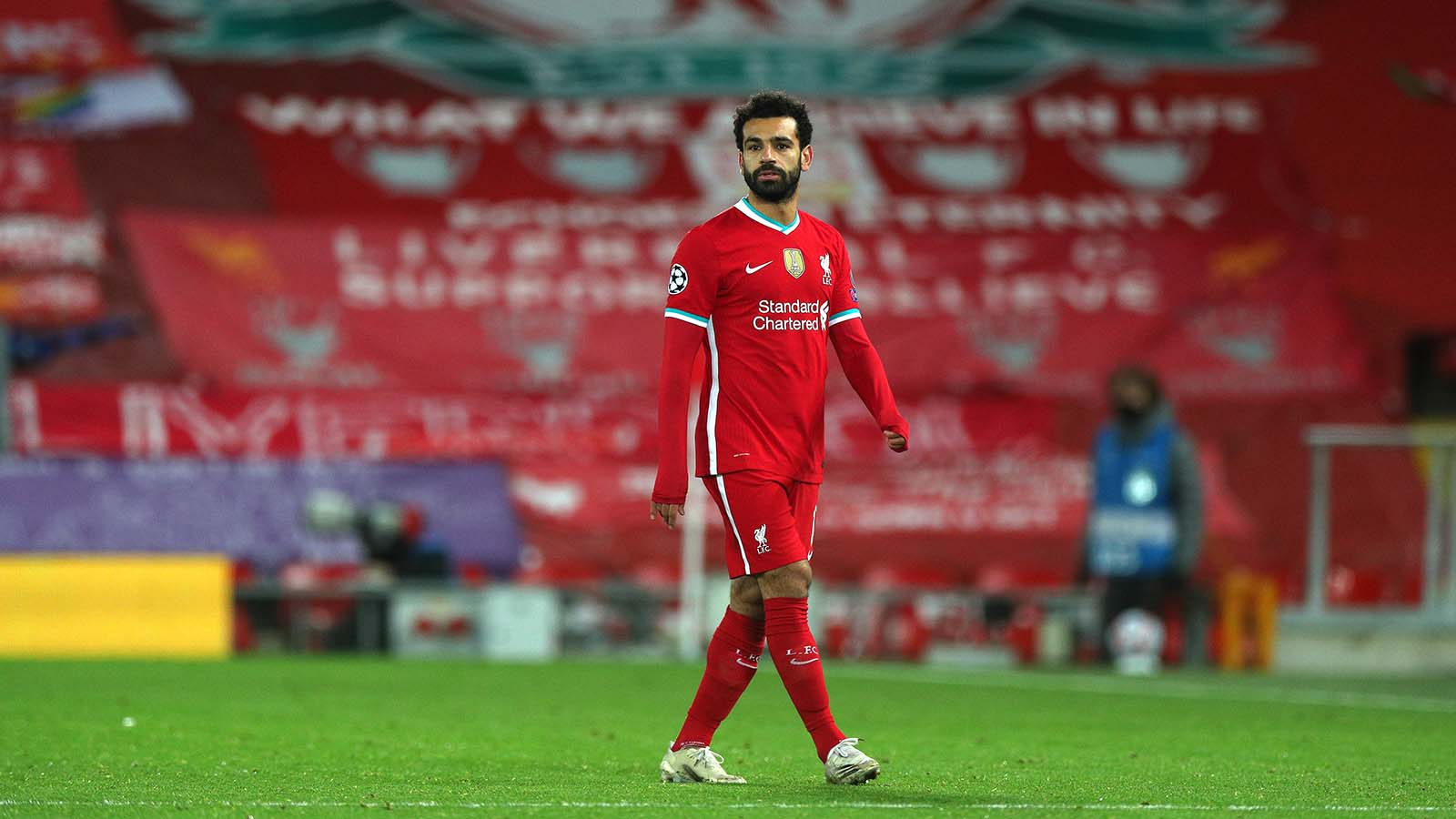 Mohamed Salah of Liverpool looks on during the UEFA Champions League Group D stage match between Liverpool FC and FC Midtjylland at Anfield on October 27, in Liverpool, England.