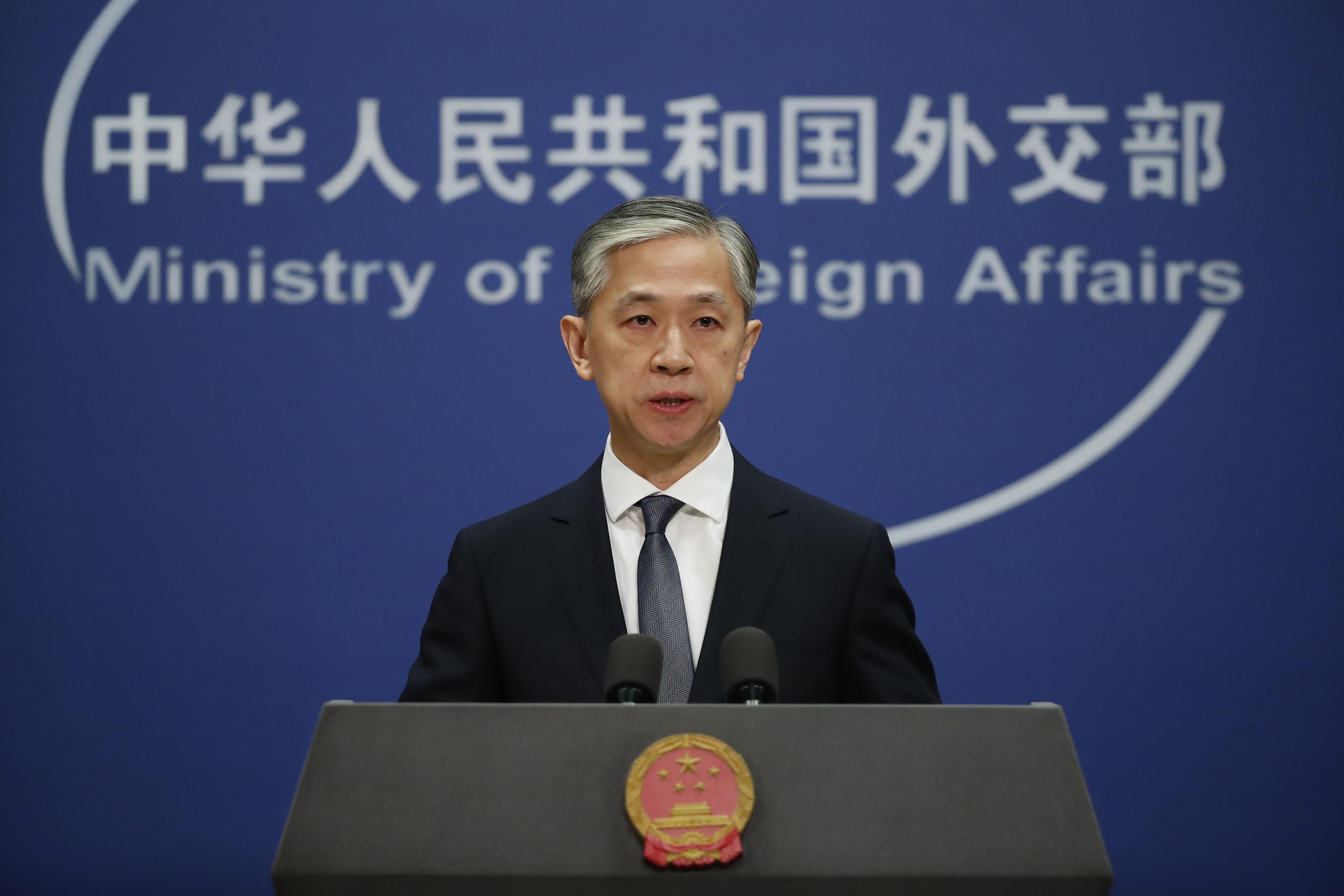 Chinese Foreign Ministry spokesman Wang Wenbin speaks during a daily media briefing in Beijing on September 18.