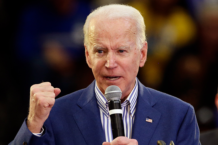Biden speaks at a campaign event at Saint Augustine's University in Raleigh, North Carolina, Saturday, February 29.