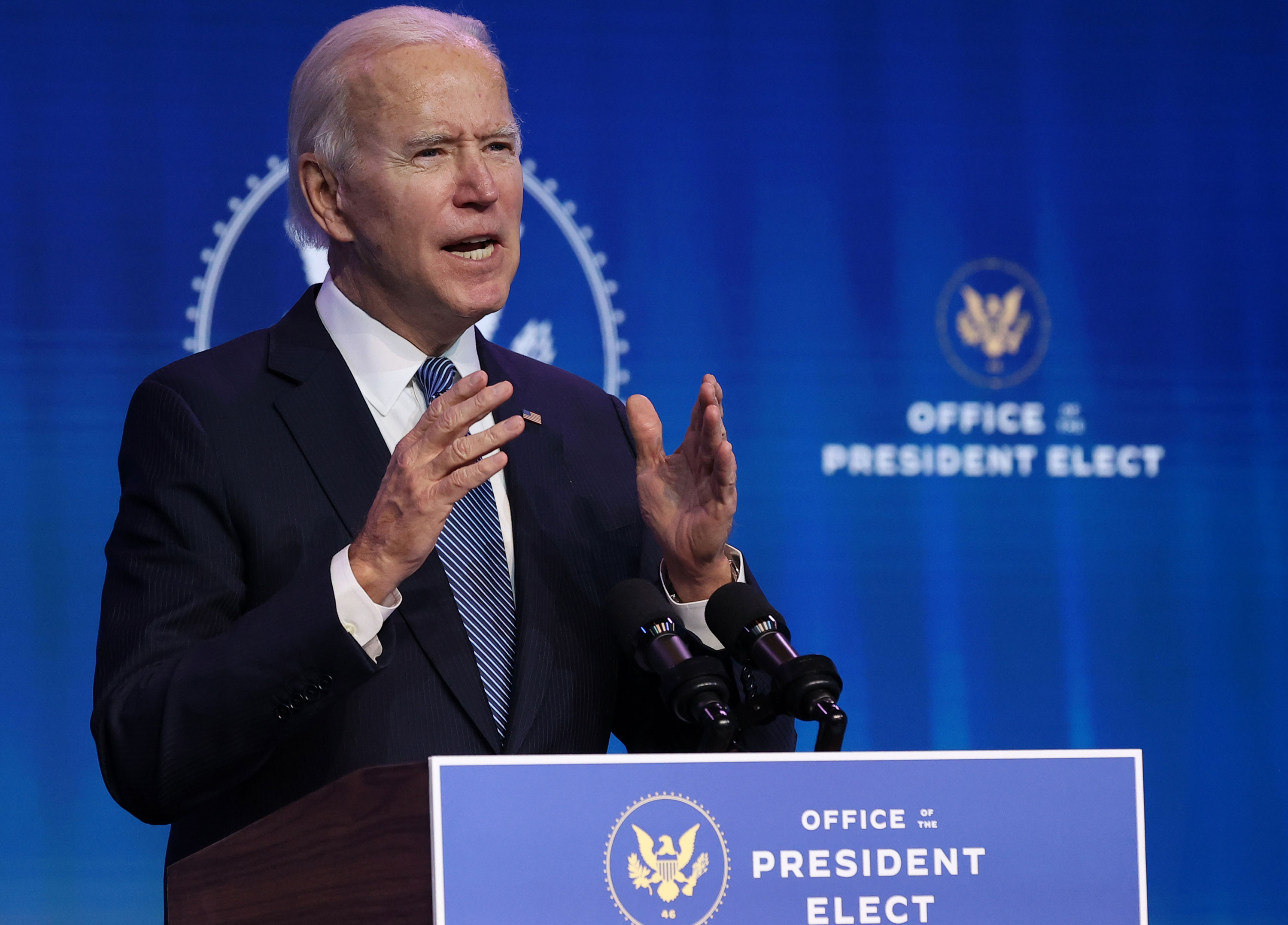 President-elect Joe Biden delivers remarks at The Queen theater on January 7 in Wilmington, Delaware.