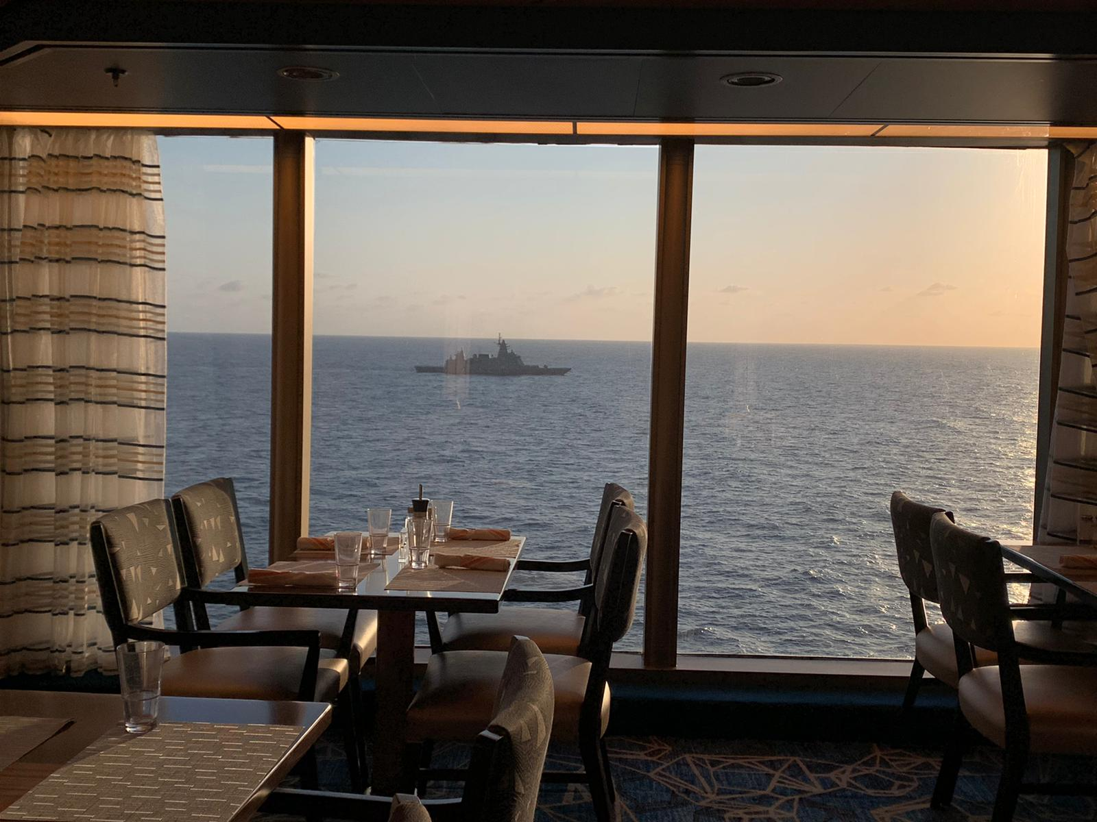 A view from the Westerdam as the cruise ship was escorted by a Thai navy vessel last week on course for Cambodia.