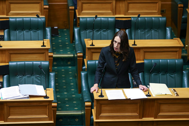 Prime Minister Jacinda Ardern declares a state of national emergency to fight coronavirus ahead of a nationwide lockdown on March 25 in Wellington, New Zealand.