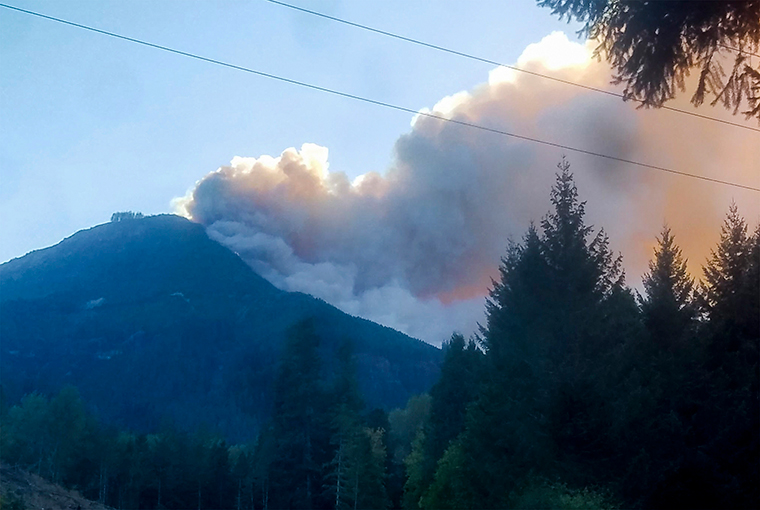 The Holiday Farm fire is seen burning in the mountains around McKenzie Bridge, Oregon on September 9.