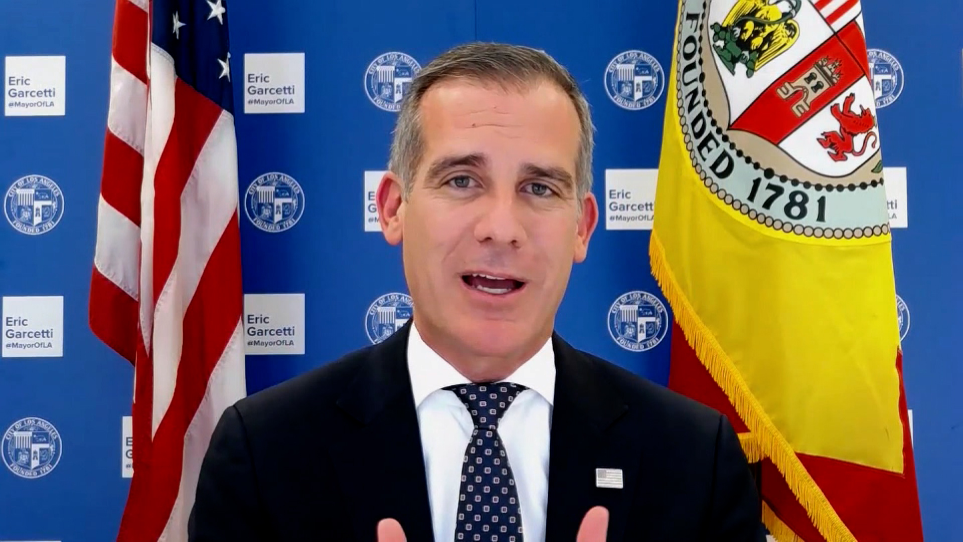 Los Angeles Mayor Eric Garcetti speaks during an interview on March 15.