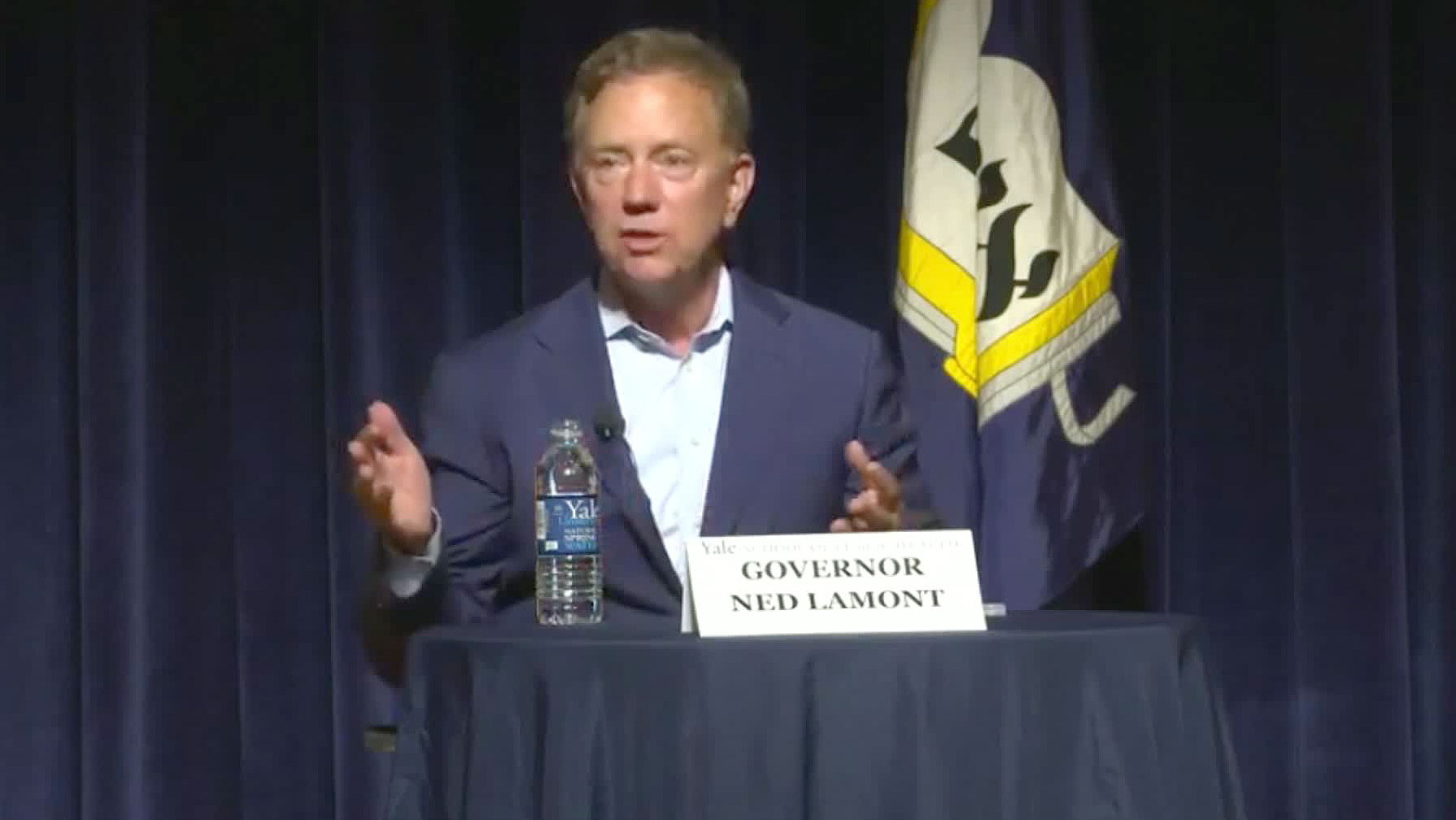 Connecticut Gov. Ned Lamont participates in a panel discussion Tuesday at the Yale School of Public Health.