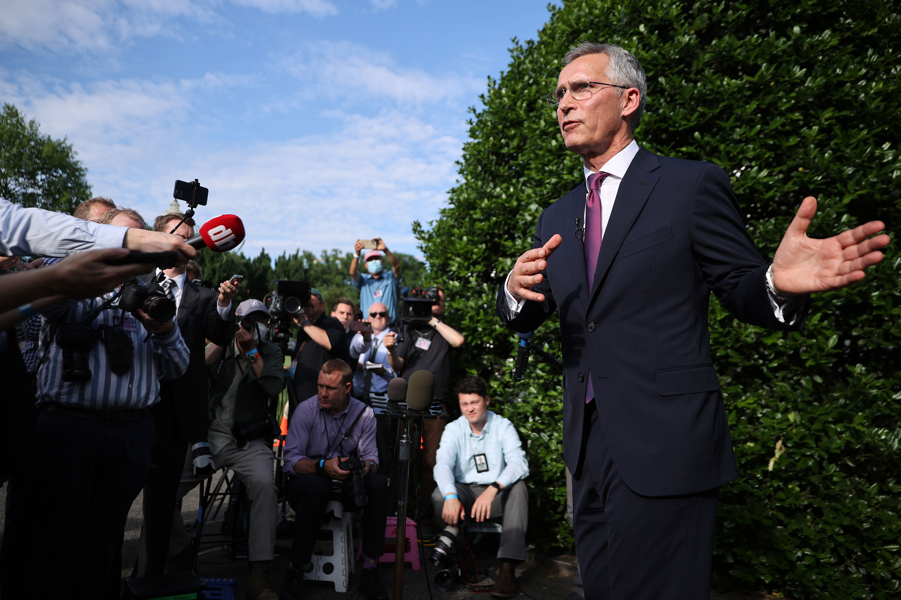 NATO Secretary General Jens Stoltenberg talks to reporters following a meeting with President Joe Biden at the White House on June 7 in Washington, DC.