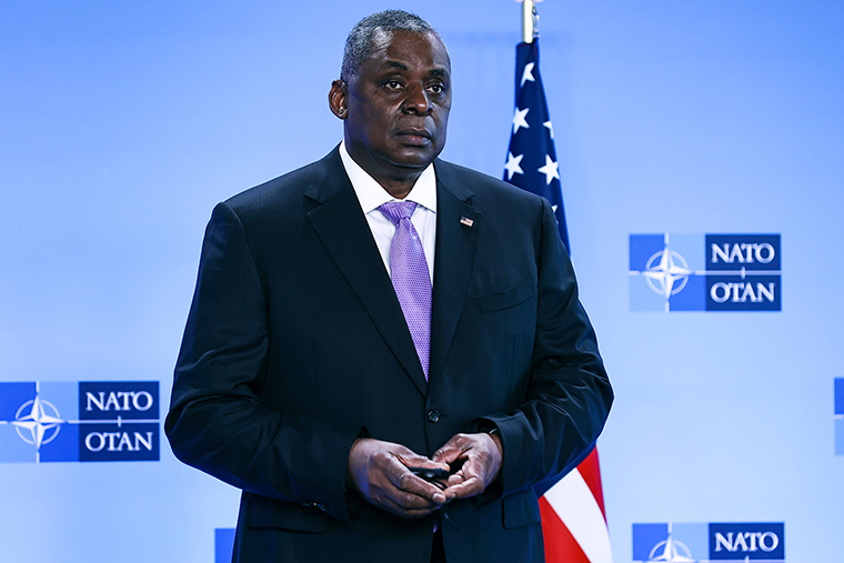 United State Secretary of Defense Lloyd Austin arrives at NATO headquarters in Brussels, Wednesday, April 14.