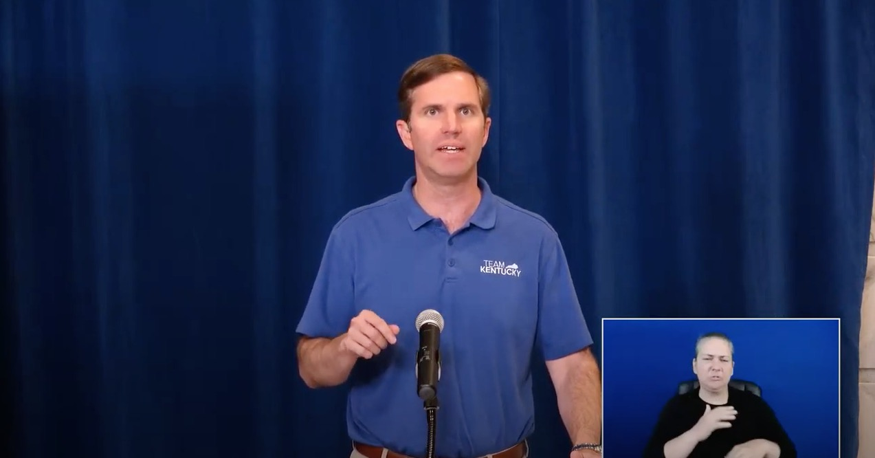 Kentucky Gov. Andy Beshear speaks during a press conference on June 4.