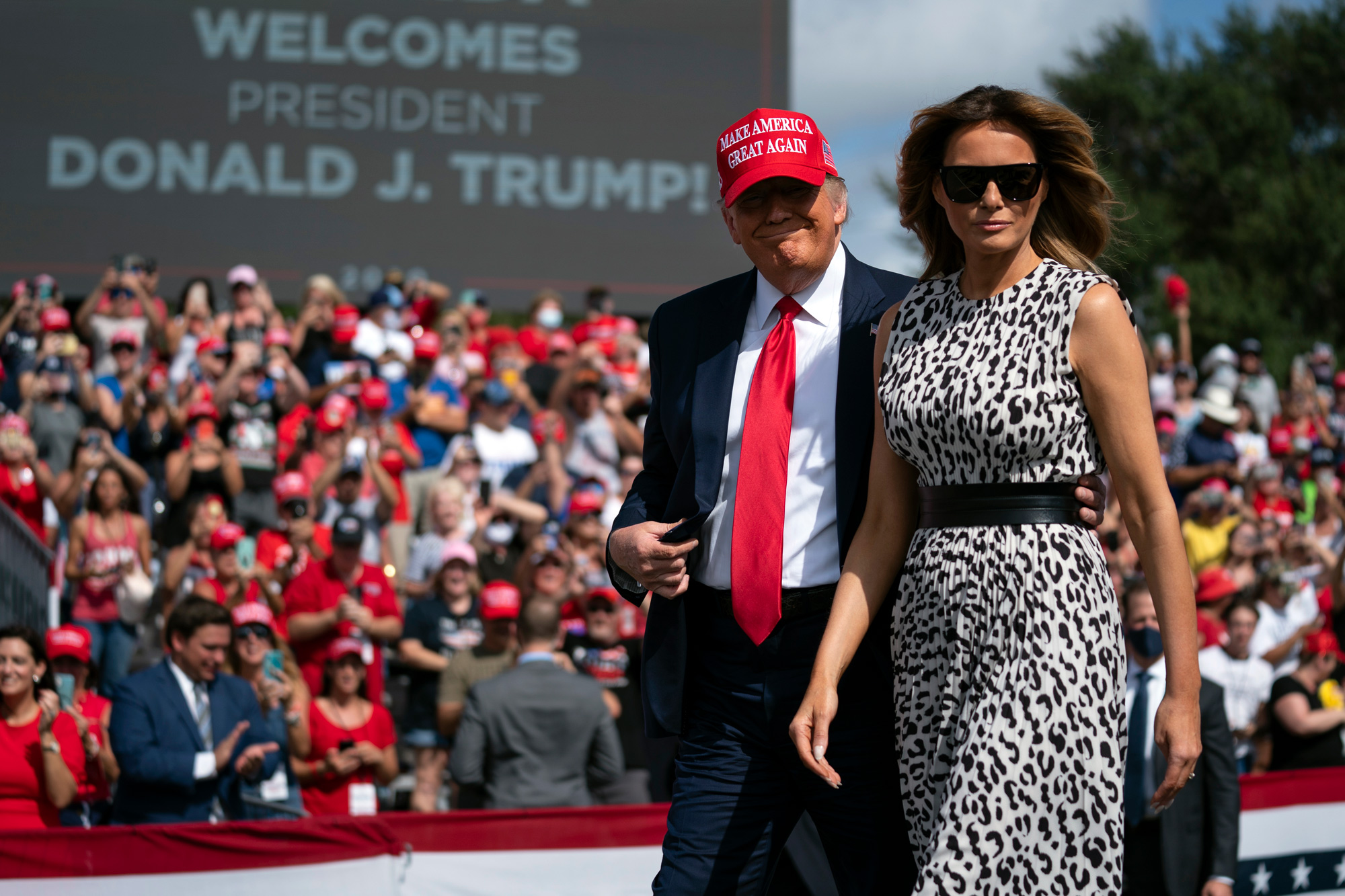 President Donald Trump and first lady Melania Trump arrive for a campaign rally outside Raymond James Stadium on October 29 in Tampa.