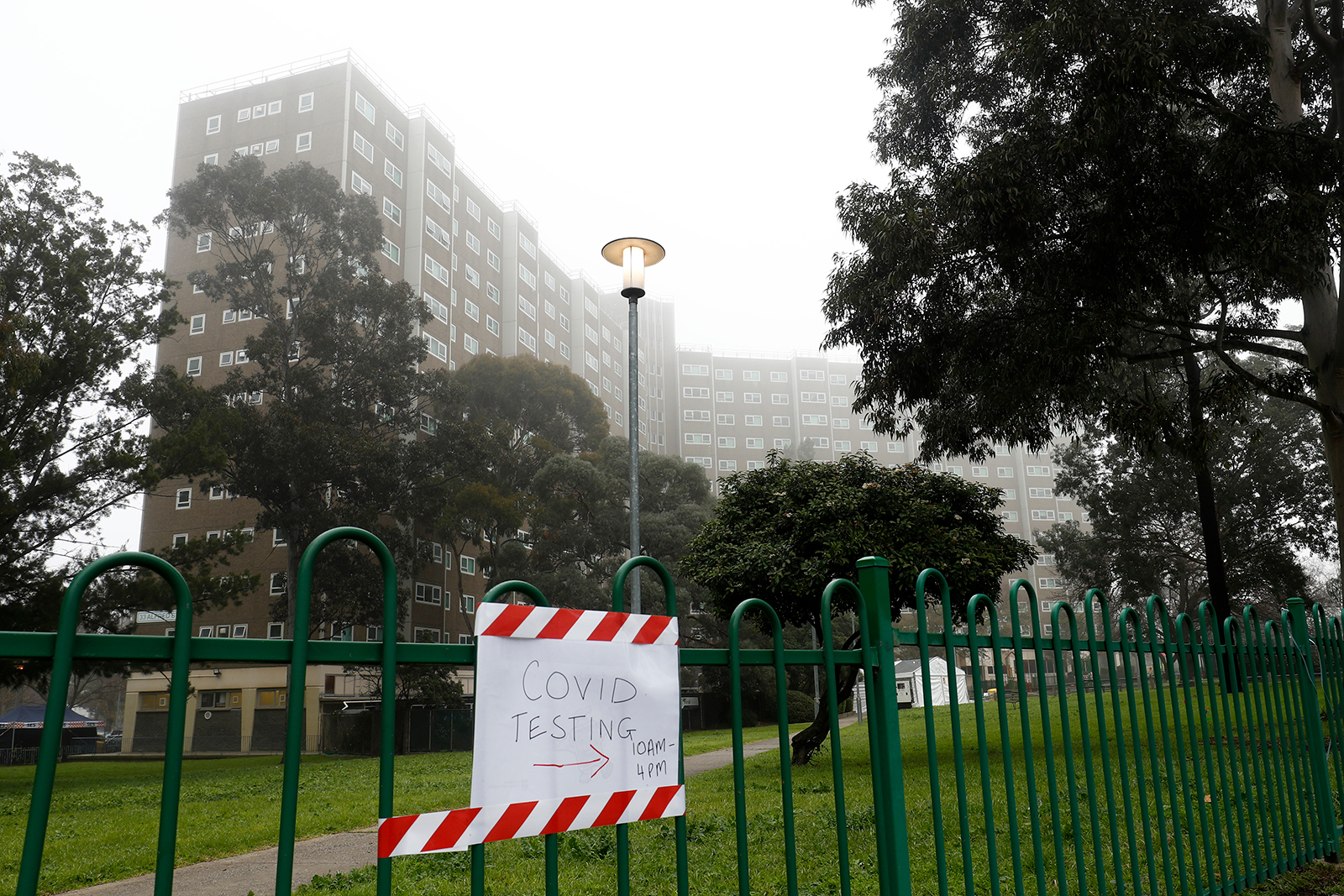 A general view of a housing complex during lockdown due to Covid-19 in Melbourne, Australia on July 17.