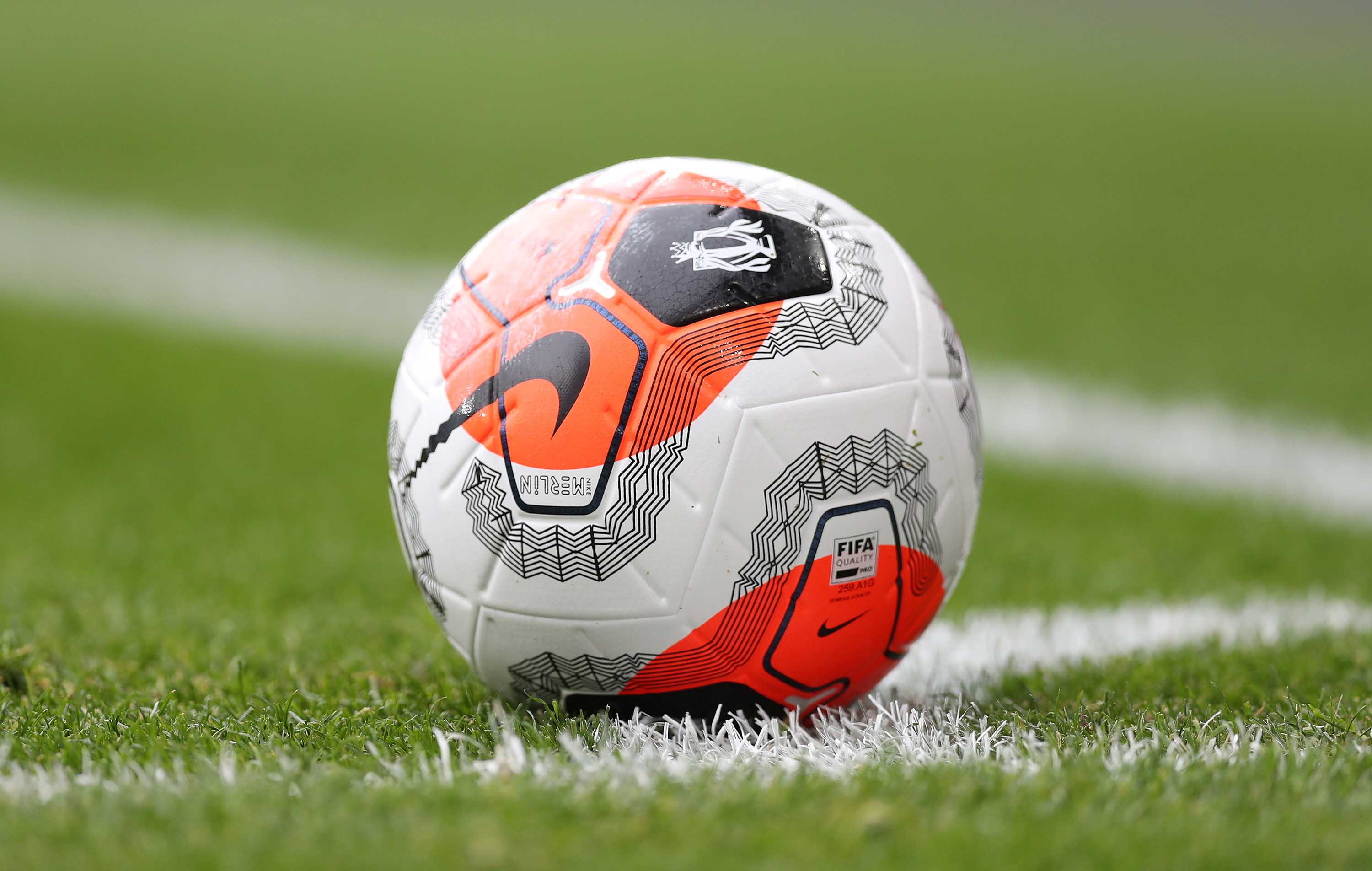 A match ball is pictured during the Premier League game between Arsenal FC and West Ham United at Emirates Stadium in London, England, on March 7.