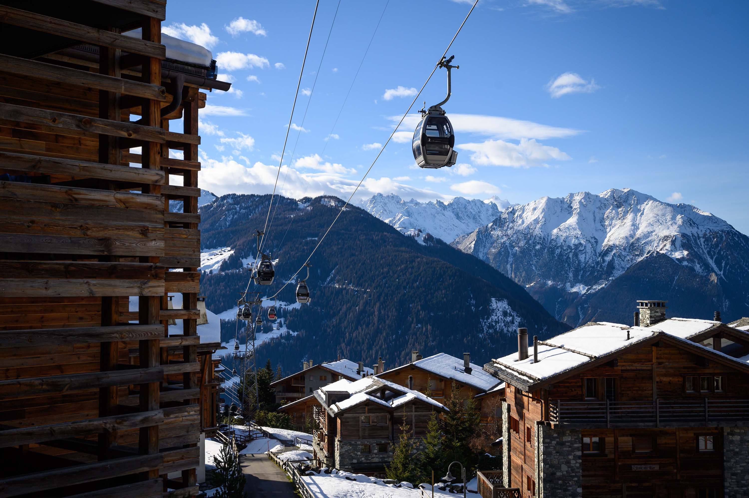 A gondola lift is pictured in the Swiss Alpine resort of Verbier on December 22.