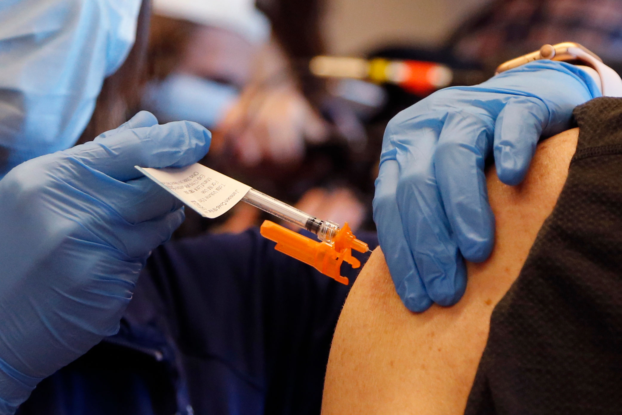 A person is administered the Johnson & Johnson Covid-19 vaccine in Columbus, Ohio, on March 2.