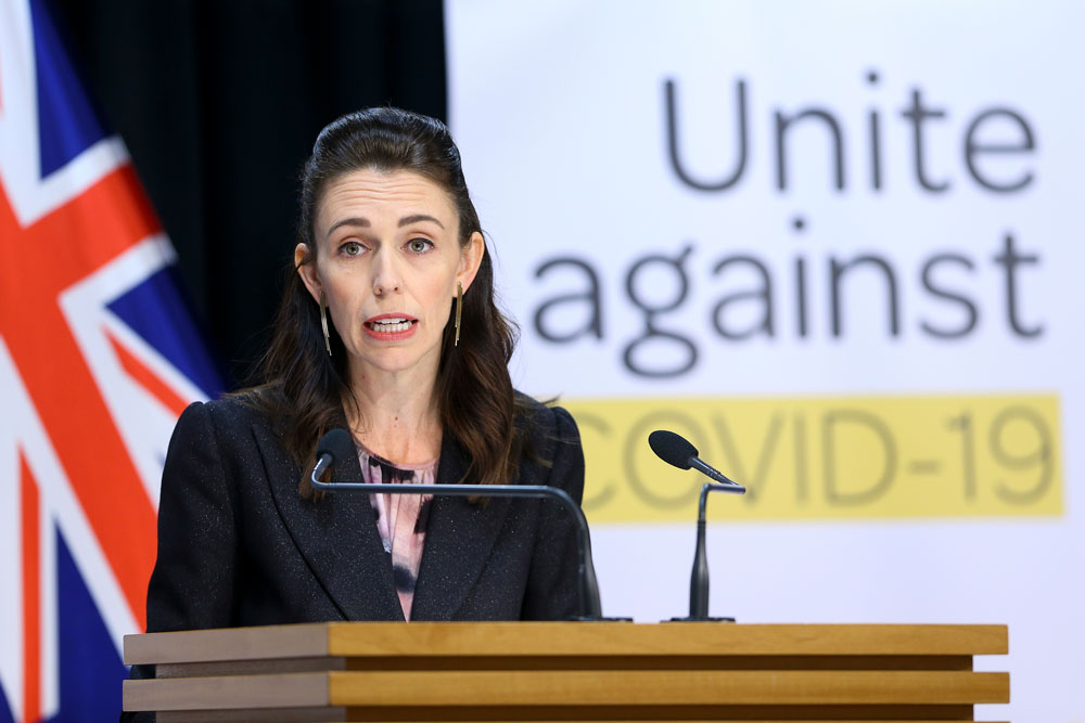 Prime Minister Jacinda Ardern speaks to media during a news conference at Parliament on April 9 in Wellington, New Zealand.
