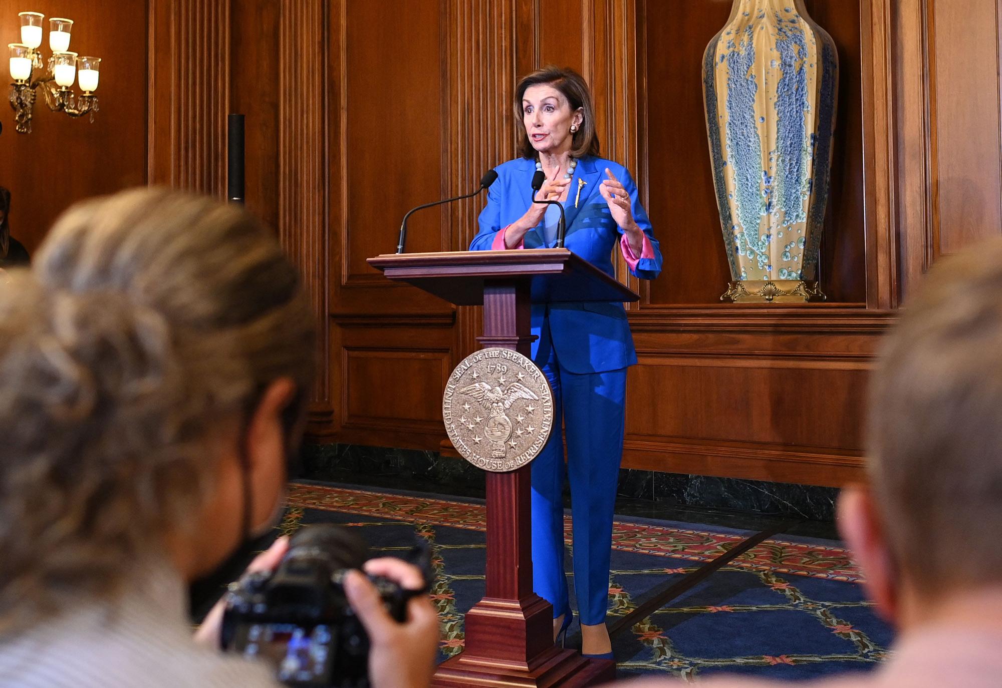 House Speaker Nancy Pelosi speaks at the US Capitol in Washington, DC, on September 30.