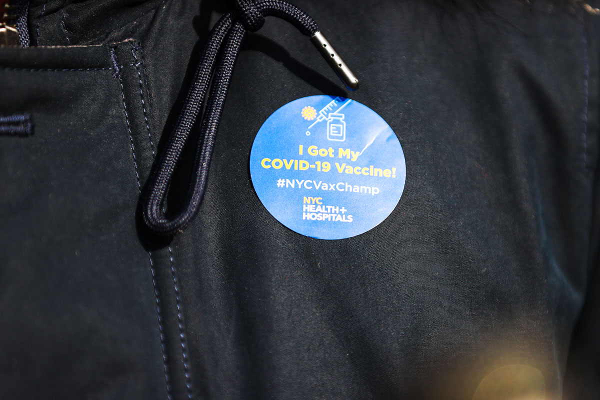 A sticker given to people who have received the Covid-19 vaccine in New York City.