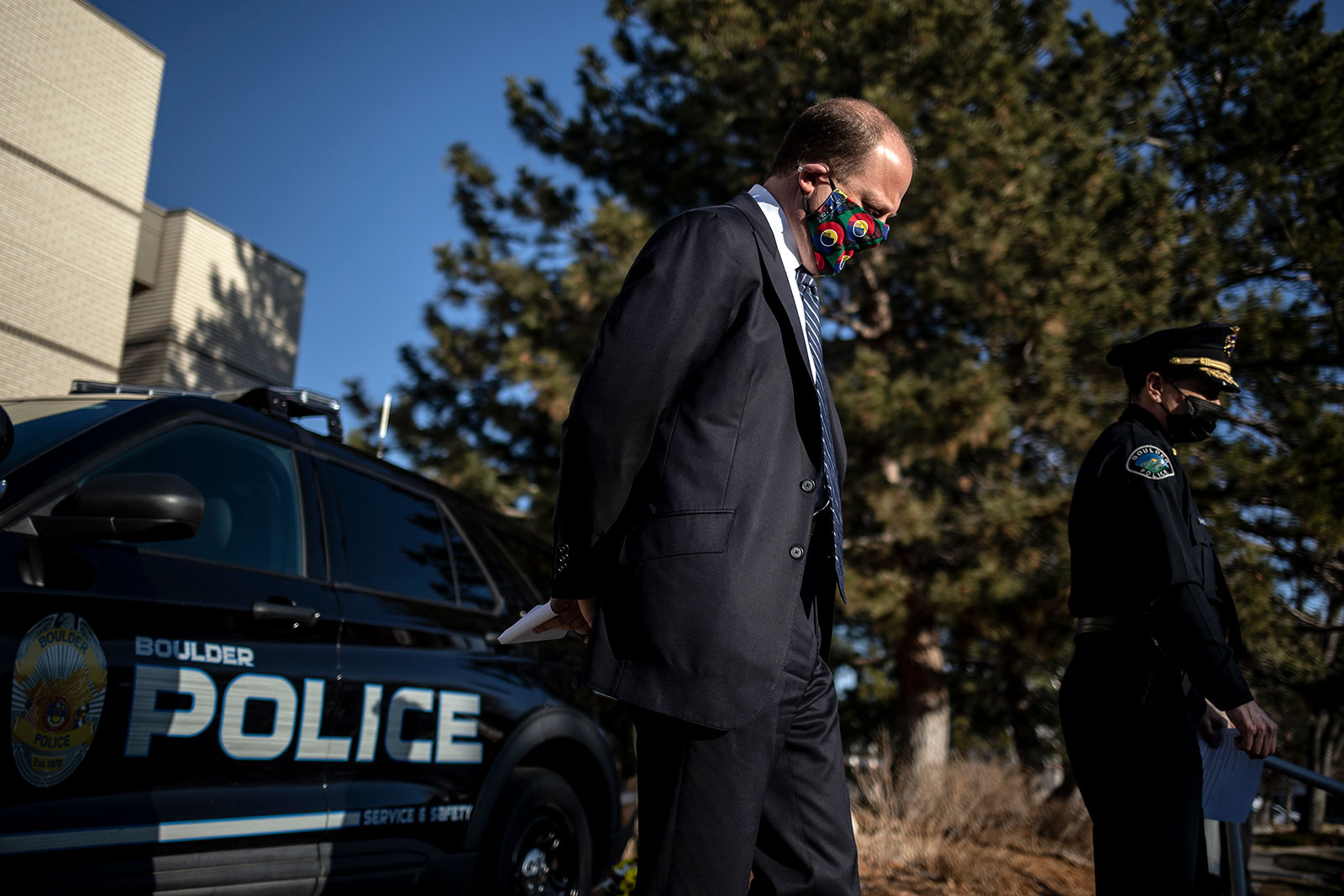Colorado Gov. Jared Polis attends a press conference in Boulder, Colorado, on March 23.