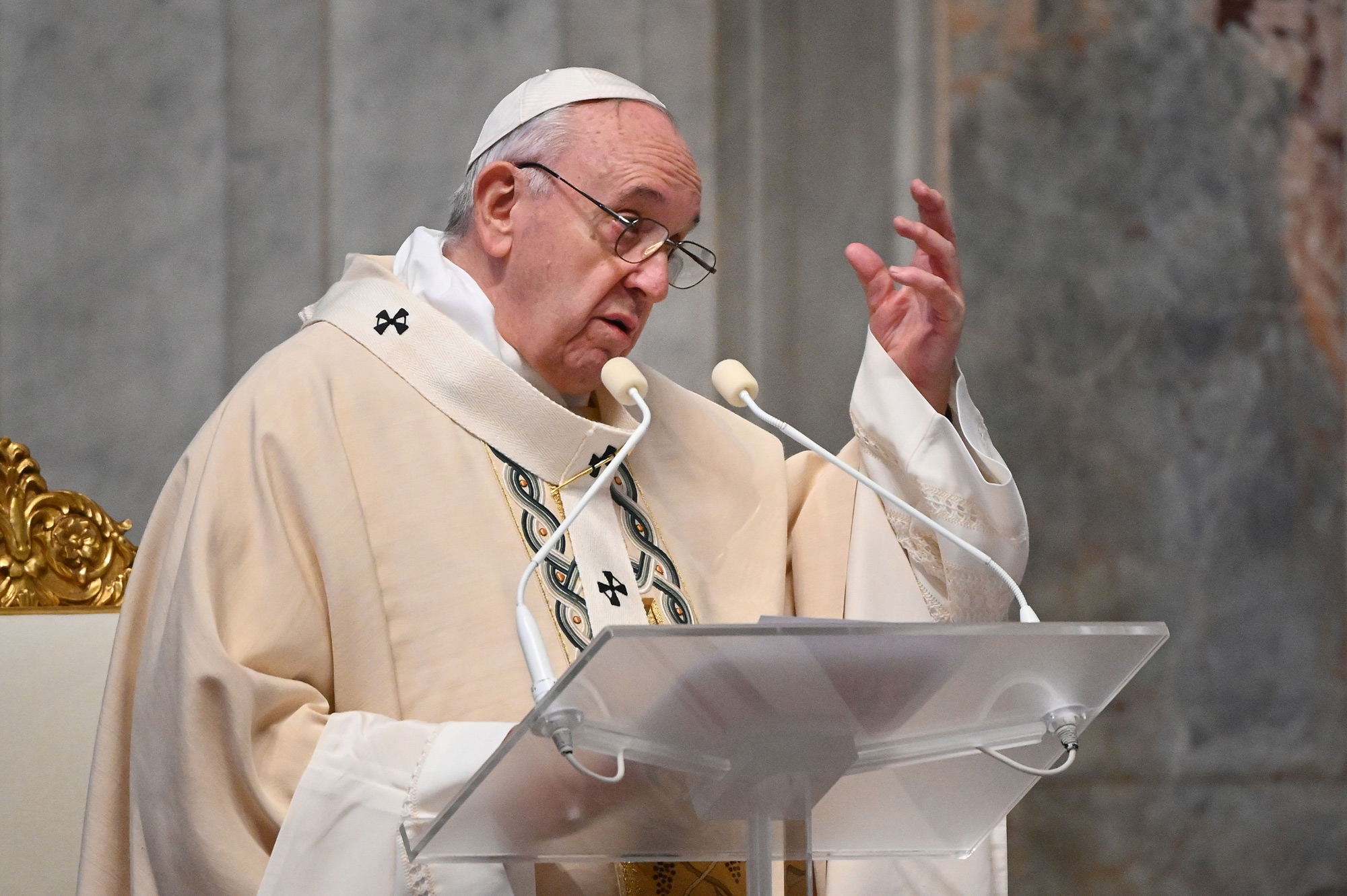 Pope Francis delivers his homily during a Holy Mass on November 22 at St. Peter's Basilica in The Vatican.