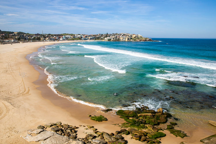 A general view of a closed Bondi Beach is seen on March 22 in Sydney, Australia.