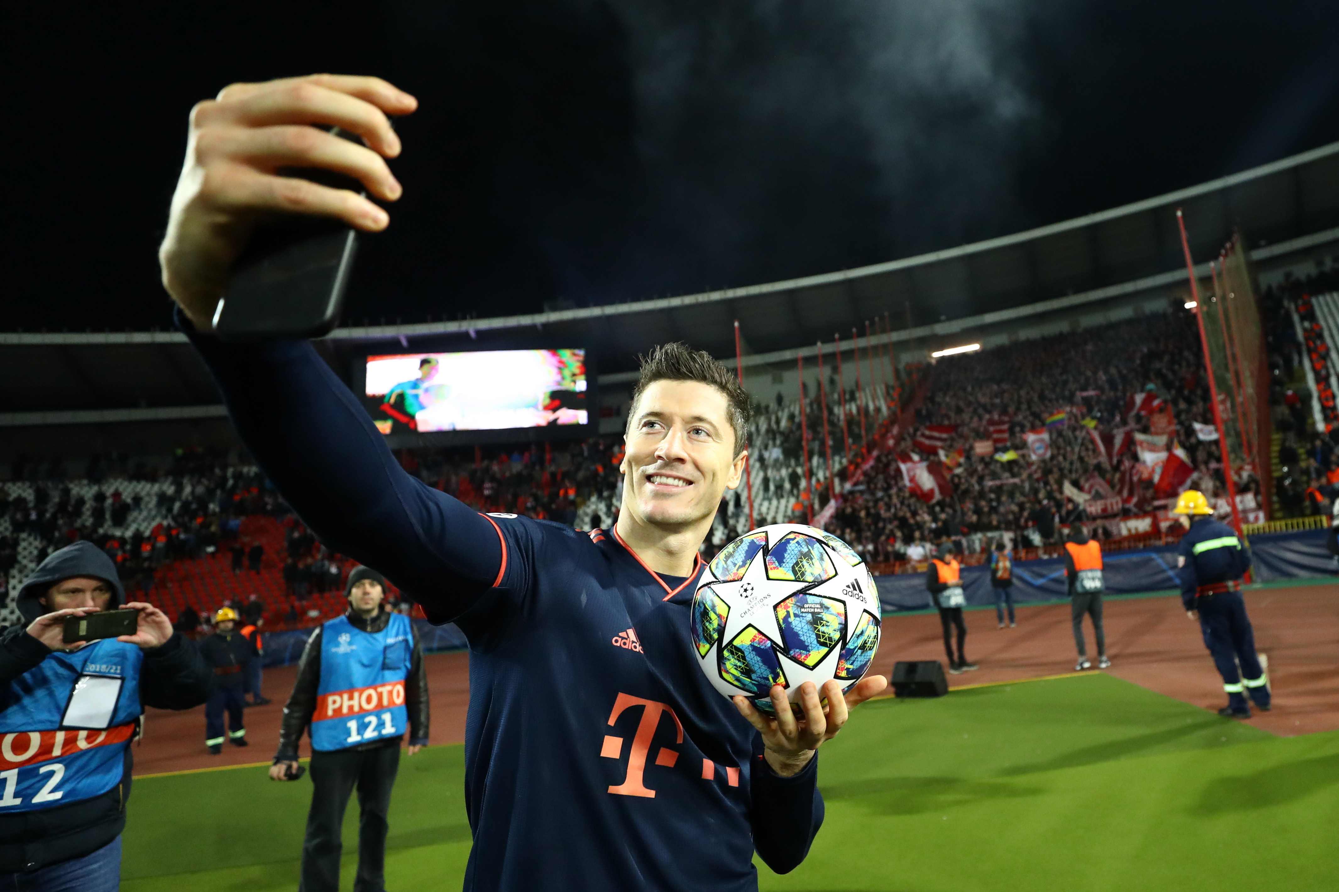 Robert Lewandowski takes a selfie after hitting four goals for Bayern during the 6-0 win over Red Star Belgrade
