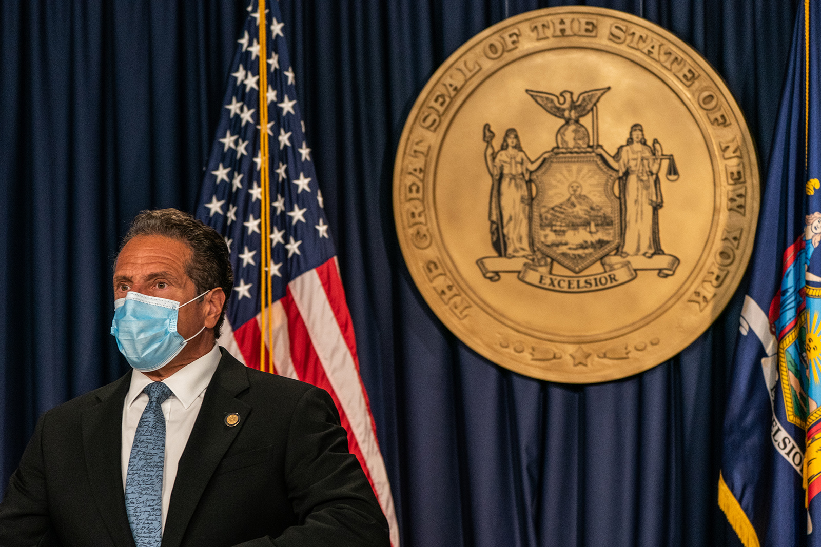 New York Gov. Andrew Cuomo wearing a protective mask attends during the daily media briefing at the Office of the Governor of the State of New York on July 23 in New York City.