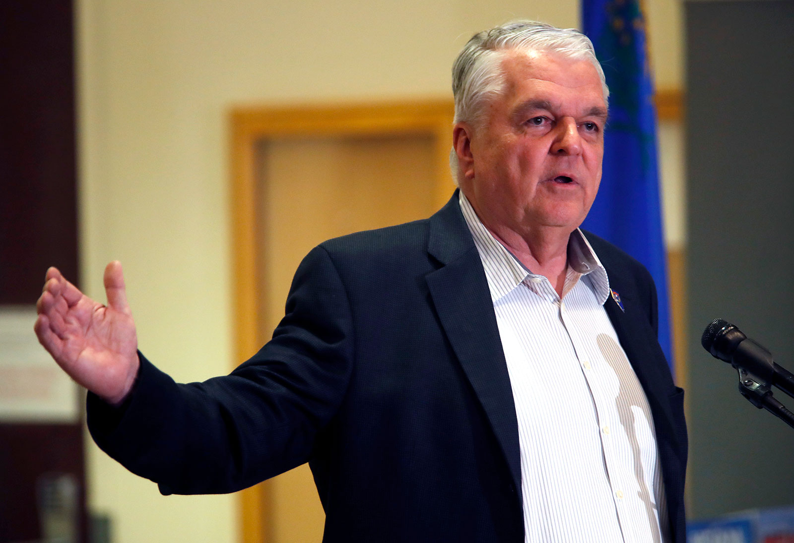 Nevada Gov. Steve Sisolak speaks during a press conference in Las Vegas on Tuesday, March 17.