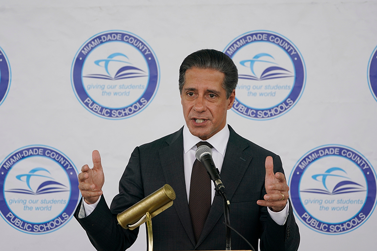 Miami-Dade County Public Schools Superintendent Alberto Carvalho speaks during a news conference on Thursday, May 20.