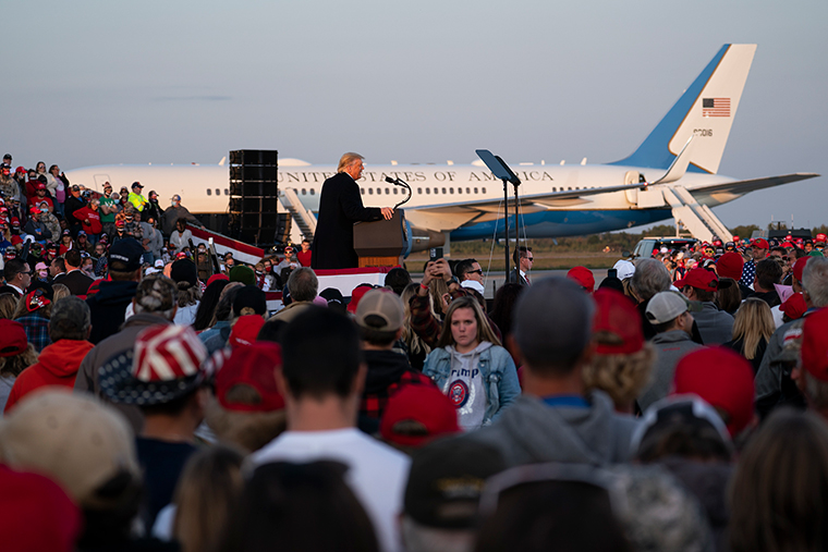 President Donald Trump speaks during a campaign rally at Bemidji Regional Airport, Friday, September 18, in Bemidji, Minnesota.